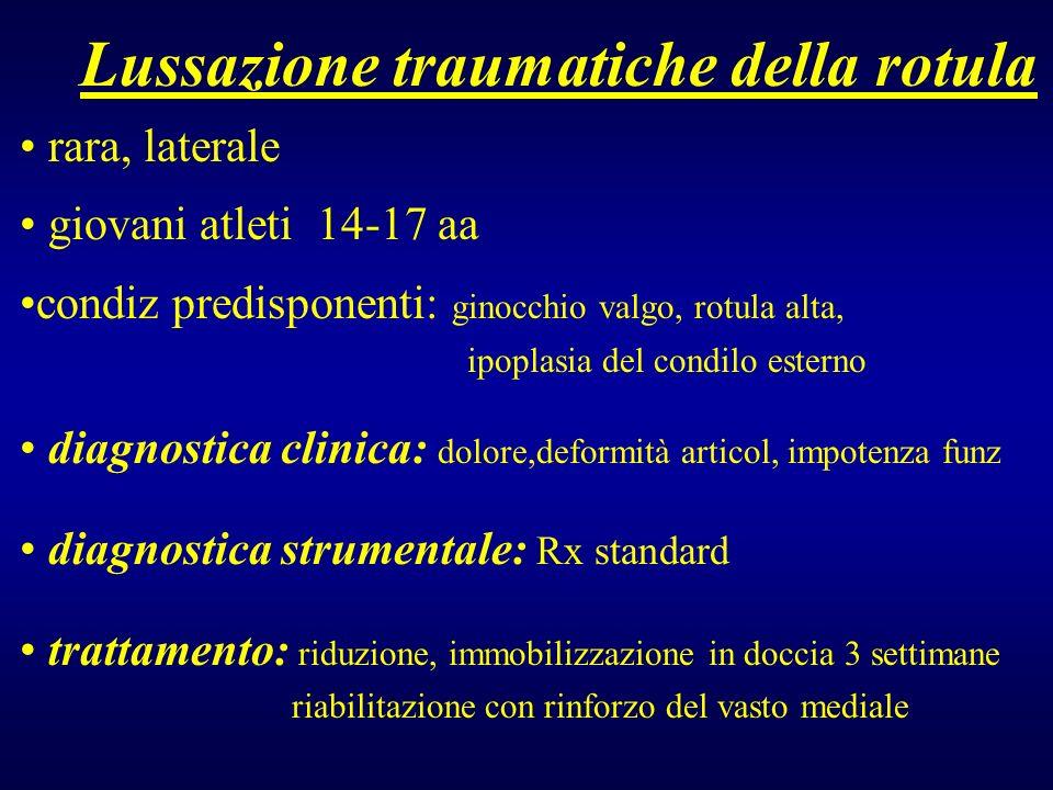 Lussazione traumatiche della rotula rara, laterale giovani atleti 14-17 aa condiz predisponenti: ginocchio valgo, rotula alta, ipoplasia del condilo e