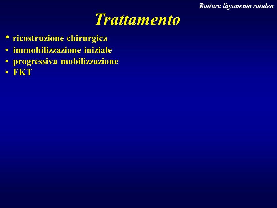 Rottura ligamento rotuleo Trattamento ricostruzione chirurgica immobilizzazione iniziale progressiva mobilizzazione FKT