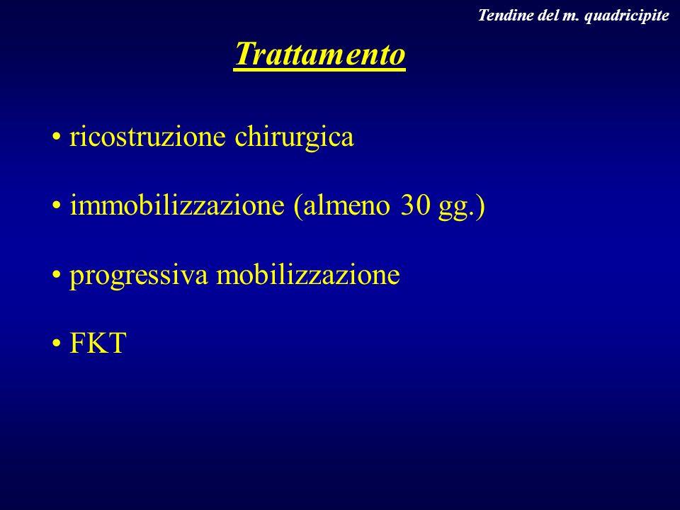 Tendine del m. quadricipite ricostruzione chirurgica immobilizzazione (almeno 30 gg.) progressiva mobilizzazione FKT Trattamento