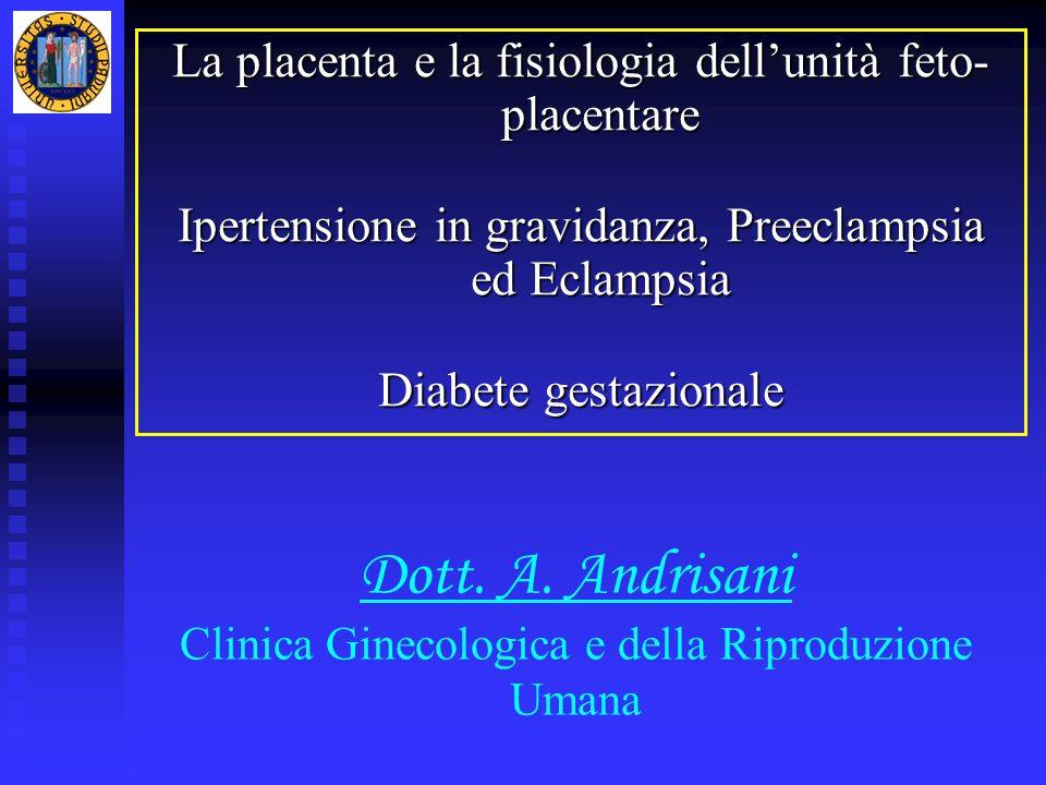 Dott. A. Andrisani Clinica Ginecologica e della Riproduzione Umana La placenta e la fisiologia dellunità feto- placentare Ipertensione in gravidanza,