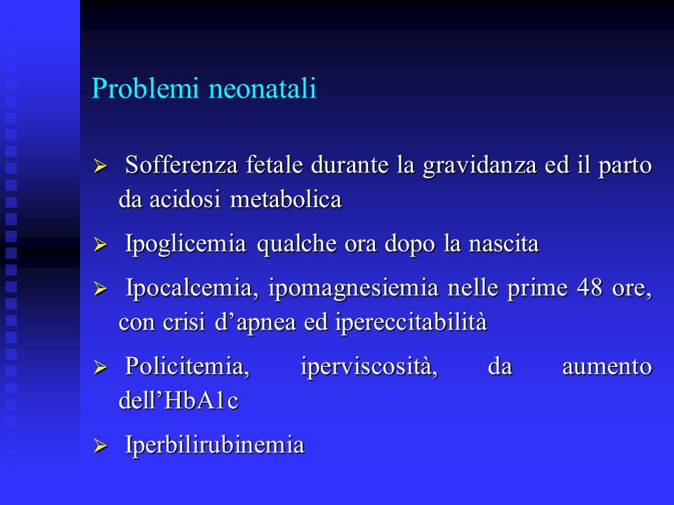 Problemi neonatali Sofferenza fetale durante la gravidanza ed il parto da acidosi metabolica Sofferenza fetale durante la gravidanza ed il parto da ac