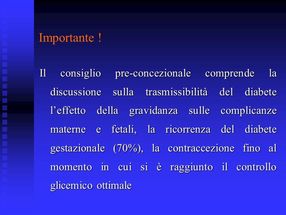 Importante ! Il consiglio pre-concezionale comprende la discussione sulla trasmissibilità del diabete leffetto della gravidanza sulle complicanze mate