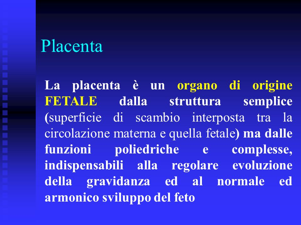 La placenta è un organo di origine FETALE dalla struttura semplice (superficie di scambio interposta tra la circolazione materna e quella fetale) ma d