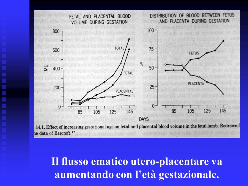 Il flusso ematico utero-placentare va aumentando con letà gestazionale.
