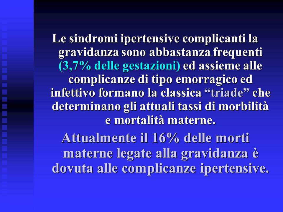 Le sindromi ipertensive complicanti la gravidanza sono abbastanza frequenti (3,7% delle gestazioni) ed assieme alle complicanze di tipo emorragico ed