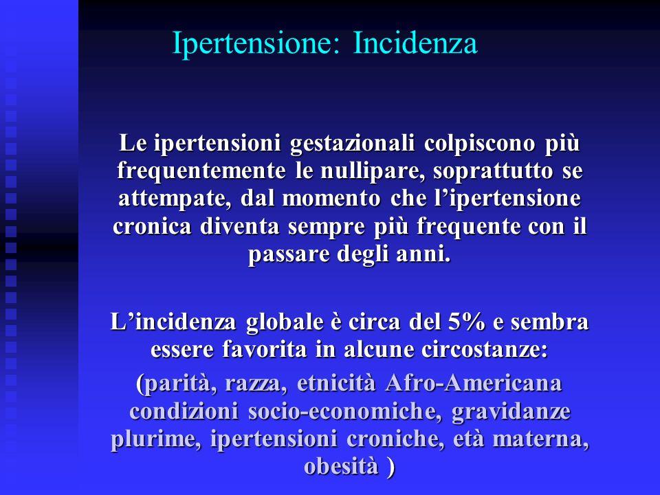 Ipertensione: Incidenza Le ipertensioni gestazionali colpiscono più frequentemente le nullipare, soprattutto se attempate, dal momento che lipertensio
