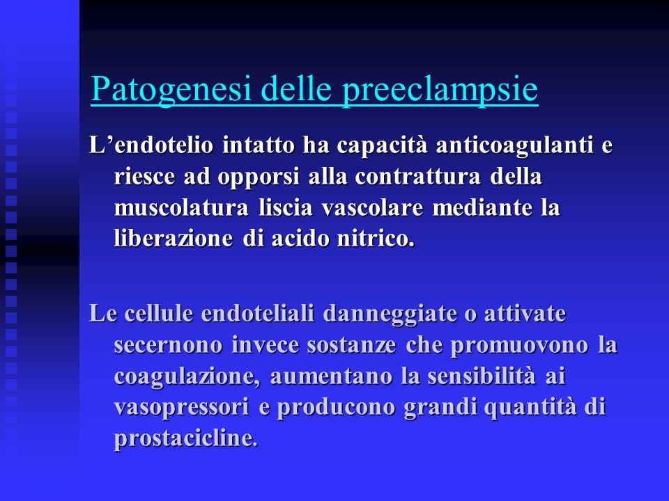 Patogenesi delle preeclampsie Lendotelio intatto ha capacità anticoagulanti e riesce ad opporsi alla contrattura della muscolatura liscia vascolare me