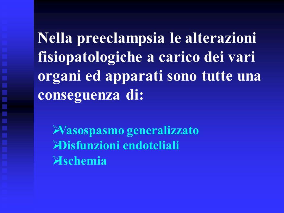 Nella preeclampsia le alterazioni fisiopatologiche a carico dei vari organi ed apparati sono tutte una conseguenza di: Vasospasmo generalizzato Disfun