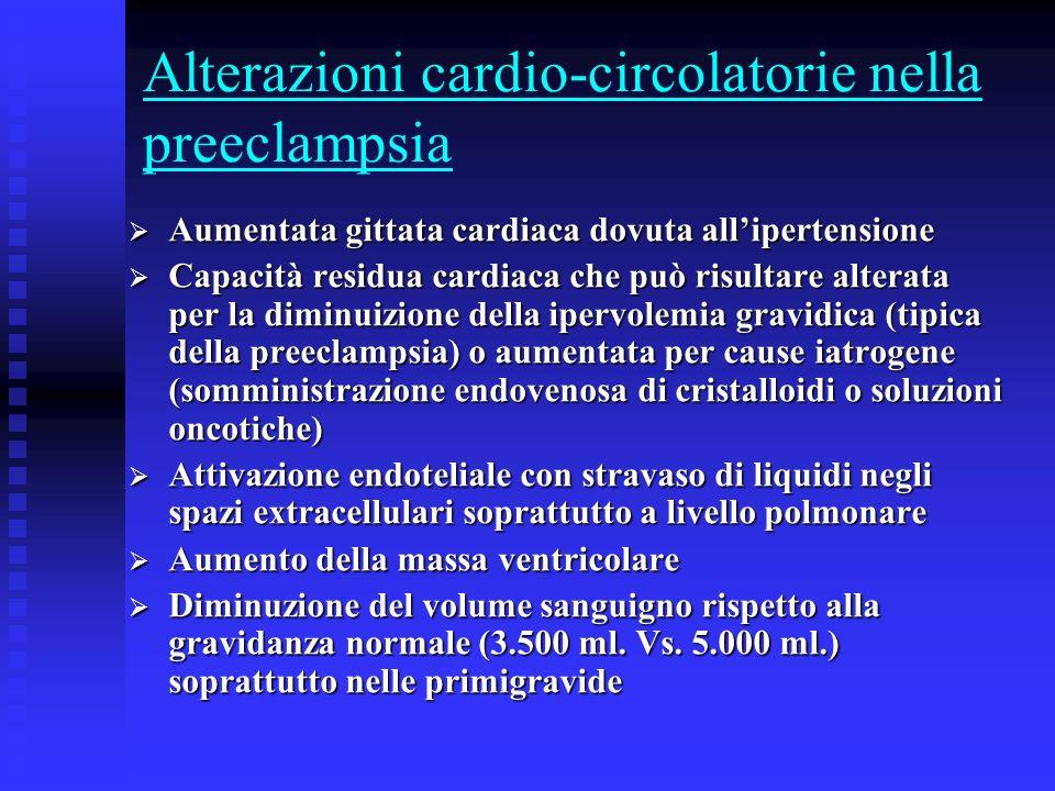Alterazioni cardio-circolatorie nella preeclampsia Aumentata gittata cardiaca dovuta allipertensione Aumentata gittata cardiaca dovuta allipertensione