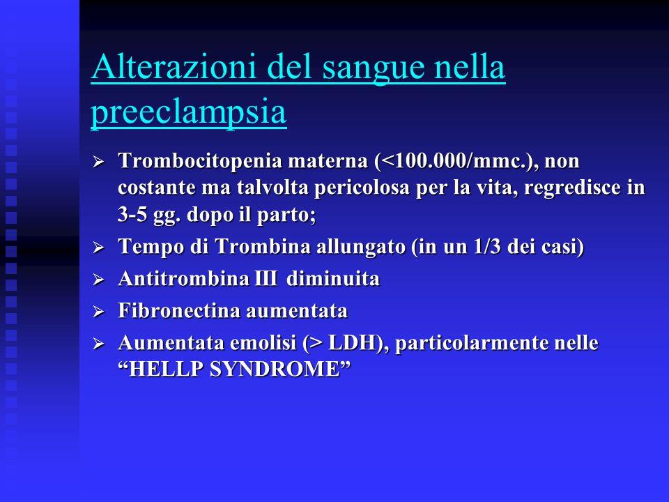 Alterazioni del sangue nella preeclampsia Trombocitopenia materna (<100.000/mmc.), non costante ma talvolta pericolosa per la vita, regredisce in 3-5