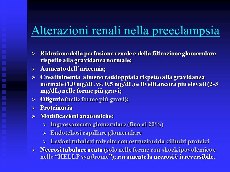 Alterazioni renali nella preeclampsia Riduzione della perfusione renale e della filtrazione glomerulare rispetto alla gravidanza normale; Riduzione de