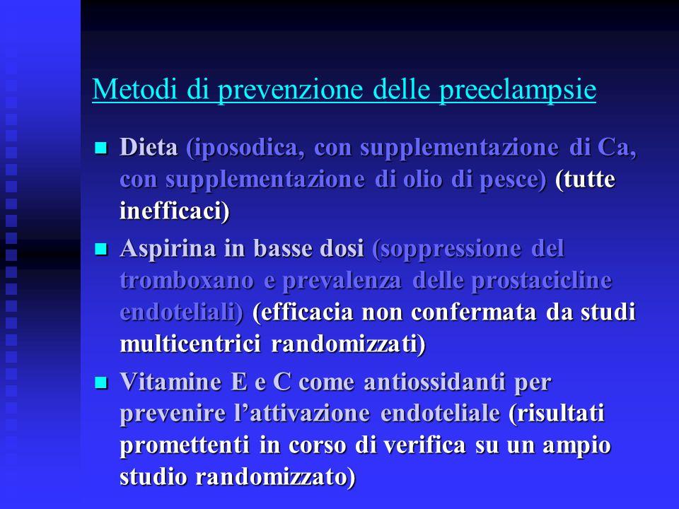 Metodi di prevenzione delle preeclampsie Dieta (iposodica, con supplementazione di Ca, con supplementazione di olio di pesce) (tutte inefficaci) Dieta