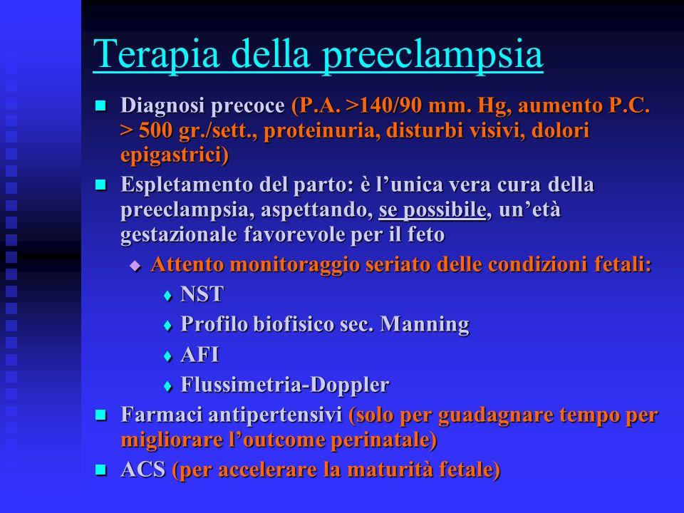 Terapia della preeclampsia Diagnosi precoce (P.A. >140/90 mm. Hg, aumento P.C. > 500 gr./sett., proteinuria, disturbi visivi, dolori epigastrici) Diag