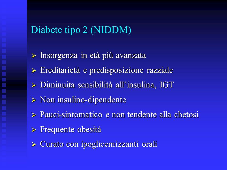 Diabete tipo 2 (NIDDM) Insorgenza in età più avanzata Insorgenza in età più avanzata Ereditarietà e predisposizione razziale Ereditarietà e predisposi