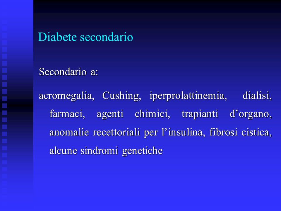 Diabete secondario Secondario a: acromegalia, Cushing, iperprolattinemia, dialisi, farmaci, agenti chimici, trapianti dorgano, anomalie recettoriali p