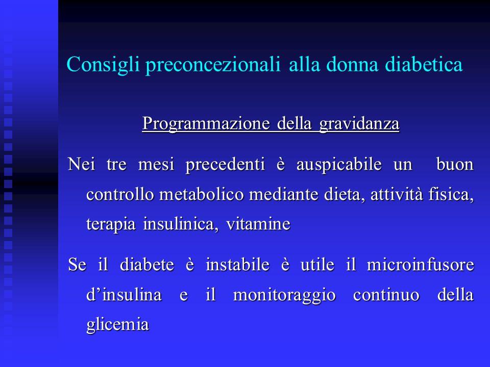 Consigli preconcezionali alla donna diabetica Programmazione della gravidanza Nei tre mesi precedenti è auspicabile un buon controllo metabolico media