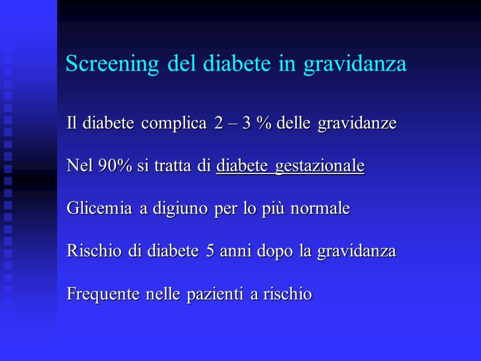 Screening del diabete in gravidanza Il diabete complica 2 – 3 % delle gravidanze Nel 90% si tratta di diabete gestazionale Glicemia a digiuno per lo p