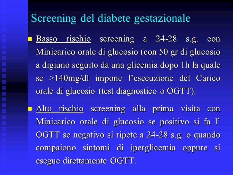 Screening del diabete gestazionale Basso rischio screening a 24-28 s.g. con Minicarico orale di glucosio (con 50 gr di glucosio a digiuno seguito da u