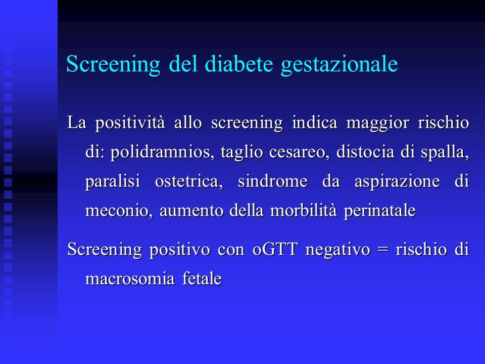Screening del diabete gestazionale La positività allo screening indica maggior rischio di: polidramnios, taglio cesareo, distocia di spalla, paralisi