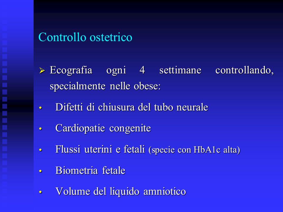 Controllo ostetrico Ecografia ogni 4 settimane controllando, specialmente nelle obese: Ecografia ogni 4 settimane controllando, specialmente nelle obe