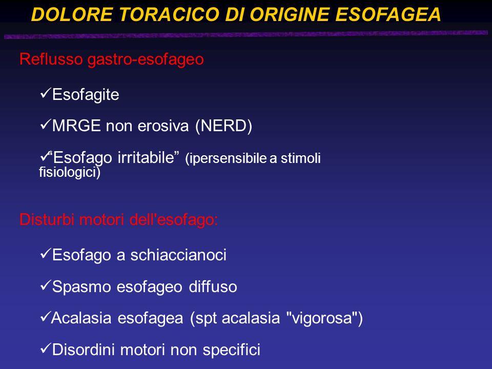 DOLORE TORACICO DI ORIGINE ESOFAGEA Reflusso gastro-esofageo Esofagite MRGE non erosiva (NERD) Esofago irritabile (ipersensibile a stimoli fisiologici