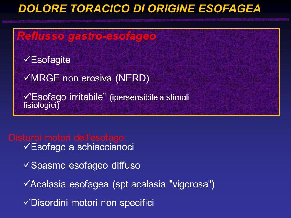 DOLORE TORACICO DI ORIGINE ESOFAGEA Reflusso gastro-esofageo Esofagite MRGE non erosiva (NERD) Esofago irritabile (ipersensibile a stimoli fisiologici) Disturbi motori dell esofago: Esofago a schiaccianoci Spasmo esofageo diffuso Acalasia esofagea (spt acalasia vigorosa ) Disordini motori non specifici