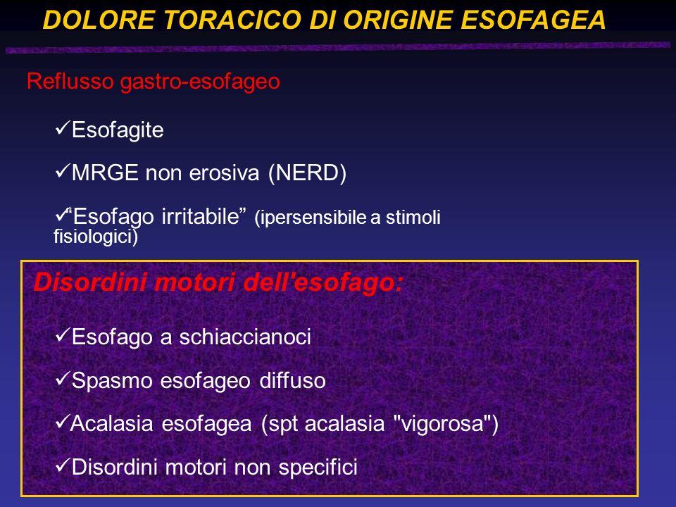 DOLORE TORACICO DI ORIGINE ESOFAGEA Reflusso gastro-esofageo Esofagite MRGE non erosiva (NERD) Esofago irritabile (ipersensibile a stimoli fisiologici) Disordini motori dell esofago: Esofago a schiaccianoci Spasmo esofageo diffuso Acalasia esofagea (spt acalasia vigorosa ) Disordini motori non specifici