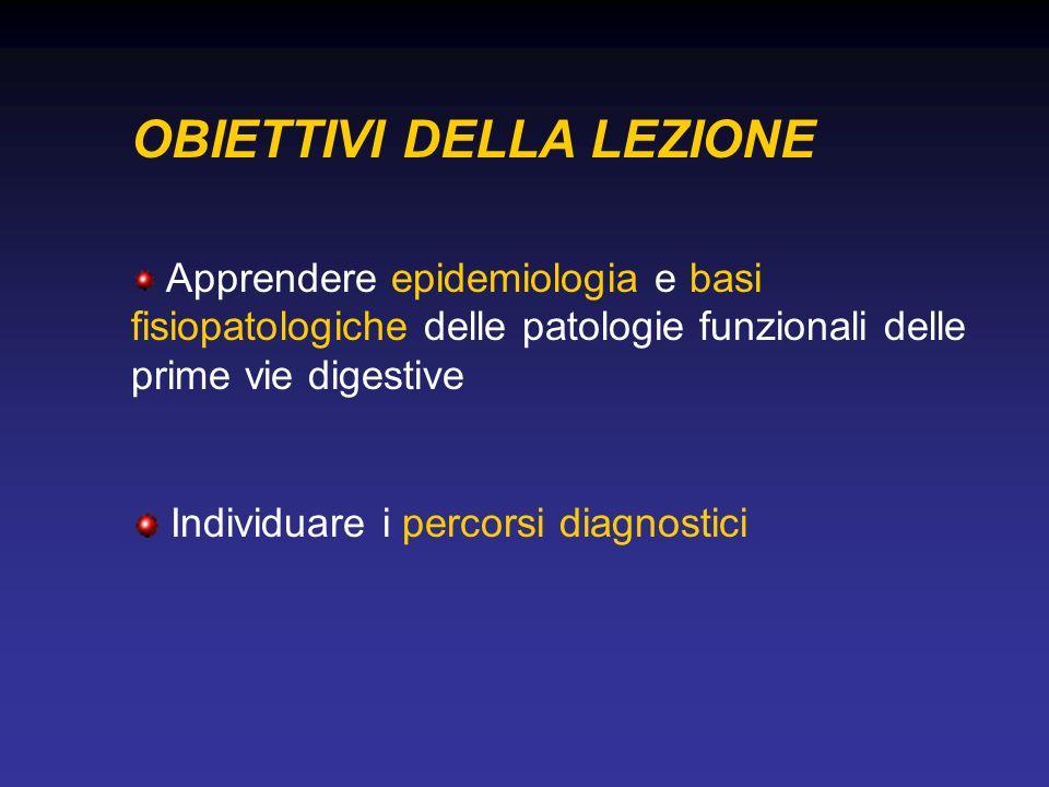 OBIETTIVI DELLA LEZIONE Apprendere epidemiologia e basi fisiopatologiche delle patologie funzionali delle prime vie digestive Individuare i percorsi diagnostici