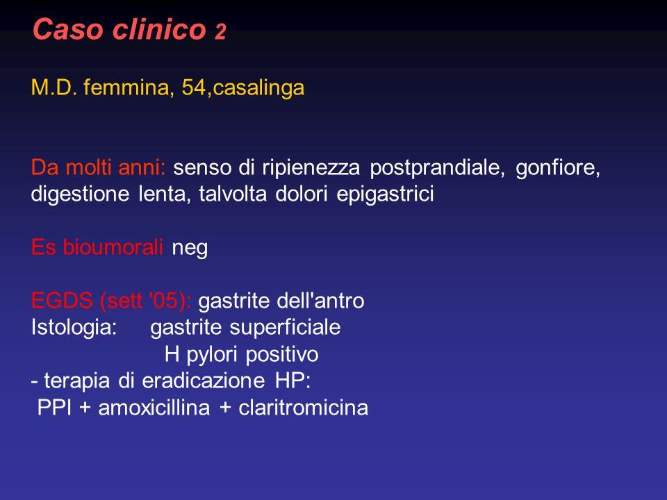 Caso clinico 2 M.D. femmina, 54,casalinga Da molti anni: senso di ripienezza postprandiale, gonfiore, digestione lenta, talvolta dolori epigastrici Es