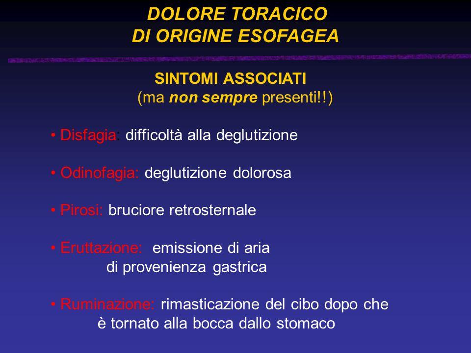 DOLORE TORACICO DI ORIGINE ESOFAGEA SINTOMI ASSOCIATI (ma non sempre presenti!!) Disfagia: difficoltà alla deglutizione Odinofagia: deglutizione dolor