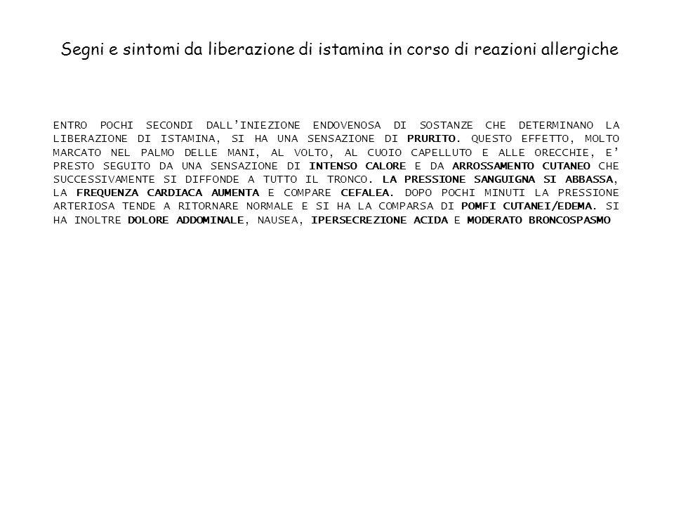 NO GUANILATO CICLASI GMP C GTP + Ca 2+ H2H2 + ADENILATO CICLASI AMP C ATP - - CELLULA MUSCLARE LISCIA VASCOLARE ARTERIOLARE DECONTRAZIONE MIOCITA ARTERIOLARE H1H1 PLC IP 3 PkC RS Ca2+ ISTAMINA NO CELLULA ENDOTELIALE ARTERIOLARE EFFETTO VASODILATATORE DELLISTAMINA: MECCANISMI