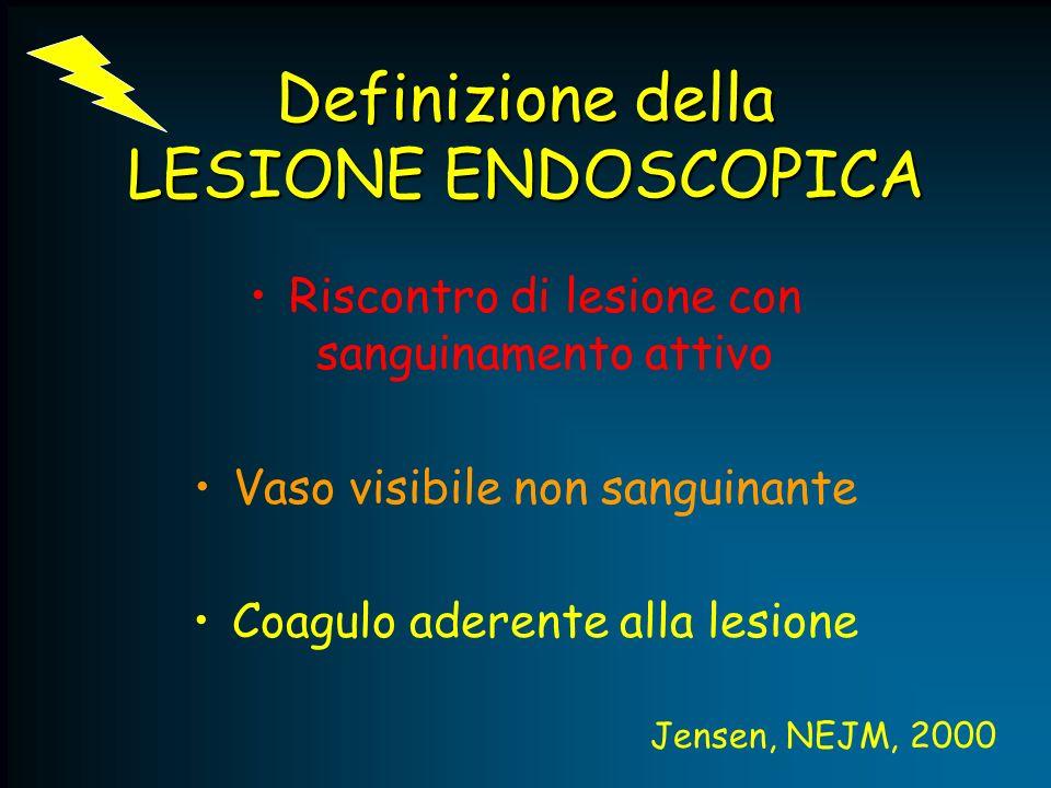 Definizione della LESIONE ENDOSCOPICA Riscontro di lesione con sanguinamento attivo Vaso visibile non sanguinante Coagulo aderente alla lesione Jensen