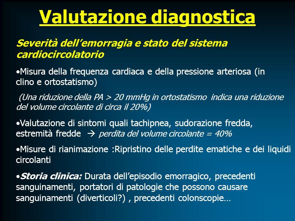 Valutazione diagnostica Severità dellemorragia e stato del sistema cardiocircolatorio Misura della frequenza cardiaca e della pressione arteriosa (in