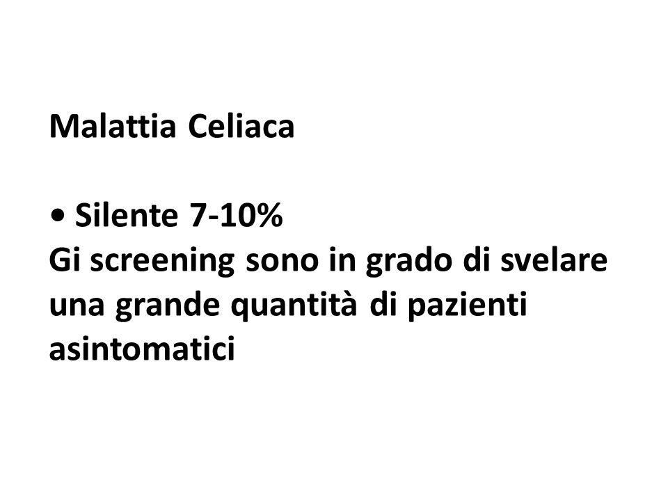 Malattia Celiaca Silente 7-10% Gi screening sono in grado di svelare una grande quantità di pazienti asintomatici