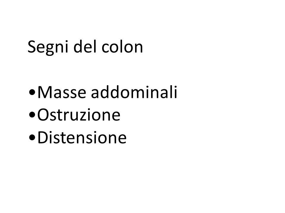 Segni del colon Masse addominali Ostruzione Distensione