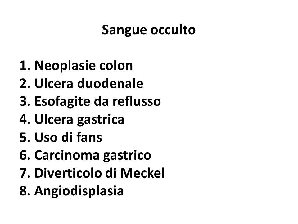 Sangue occulto 1. Neoplasie colon 2. Ulcera duodenale 3. Esofagite da reflusso 4. Ulcera gastrica 5. Uso di fans 6. Carcinoma gastrico 7. Diverticolo