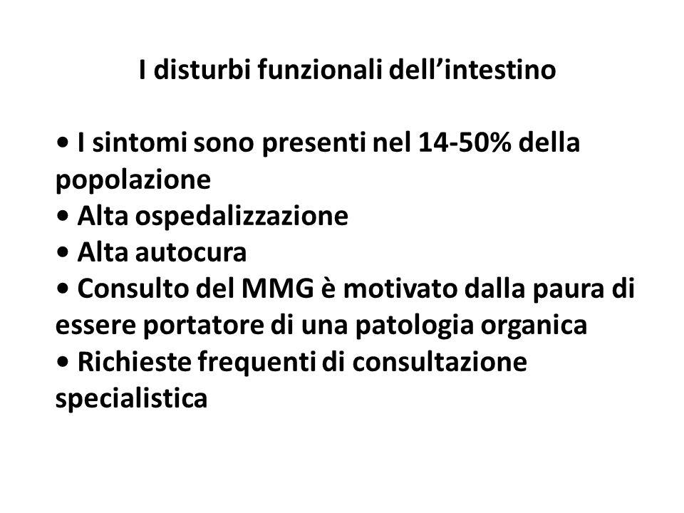 I disturbi funzionali dellintestino I sintomi sono presenti nel 14-50% della popolazione Alta ospedalizzazione Alta autocura Consulto del MMG è motiva