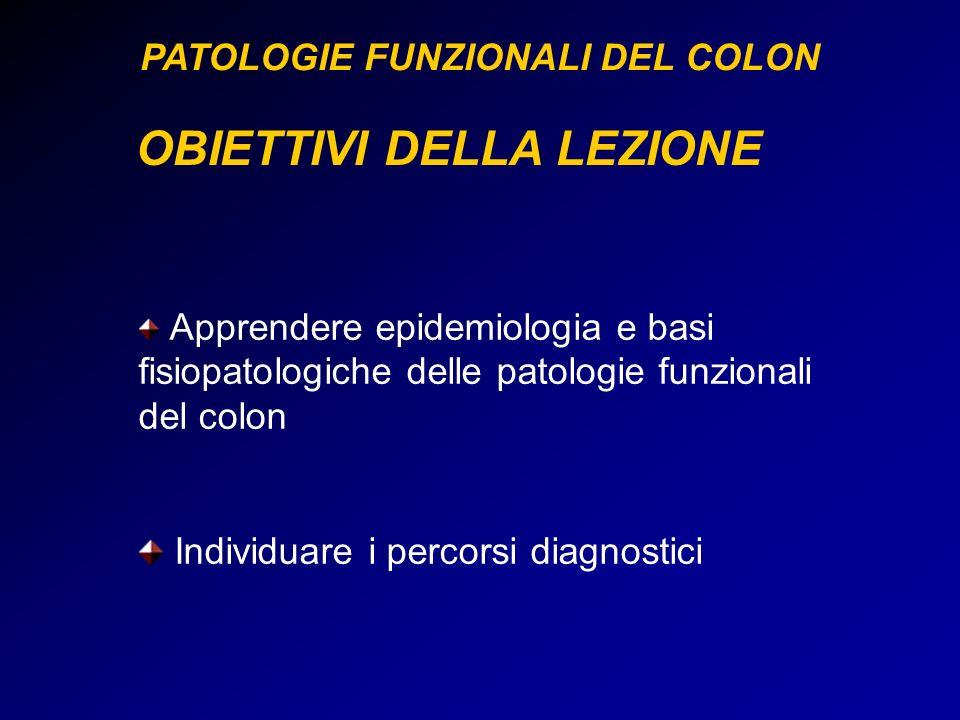 OBIETTIVI DELLA LEZIONE Apprendere epidemiologia e basi fisiopatologiche delle patologie funzionali del colon Individuare i percorsi diagnostici PATOL