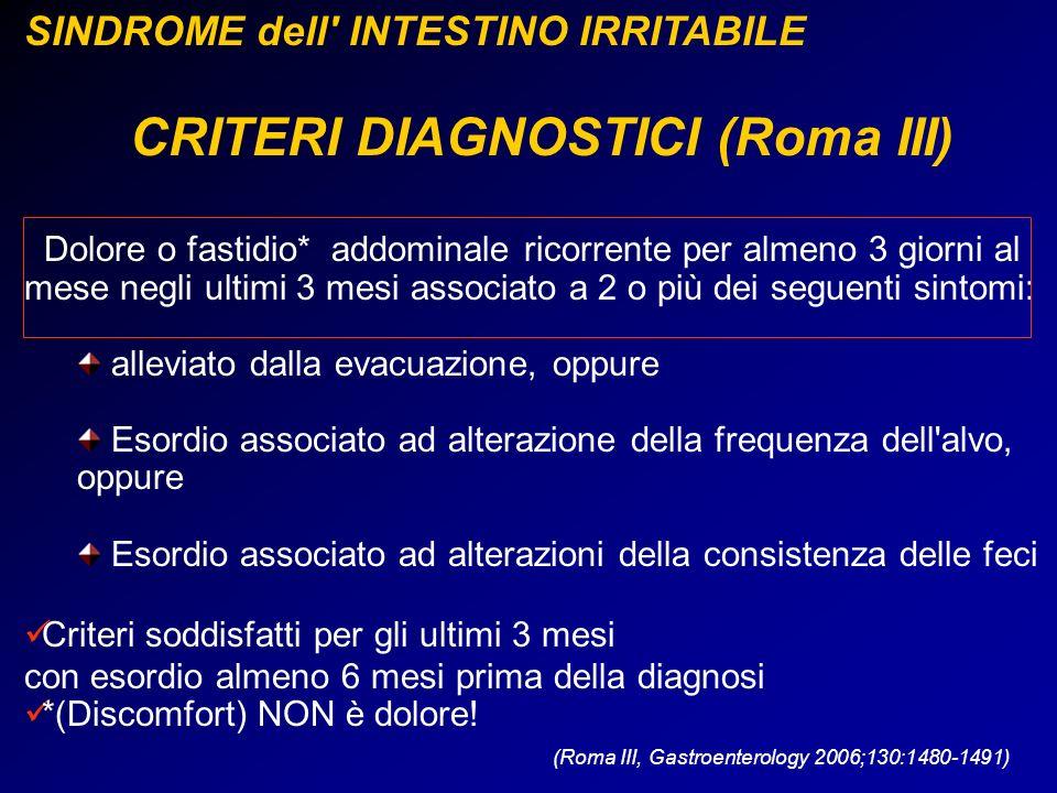 SINDROME dell' INTESTINO IRRITABILE CRITERI DIAGNOSTICI (Roma III) Dolore o fastidio* addominale ricorrente per almeno 3 giorni al mese negli ultimi 3