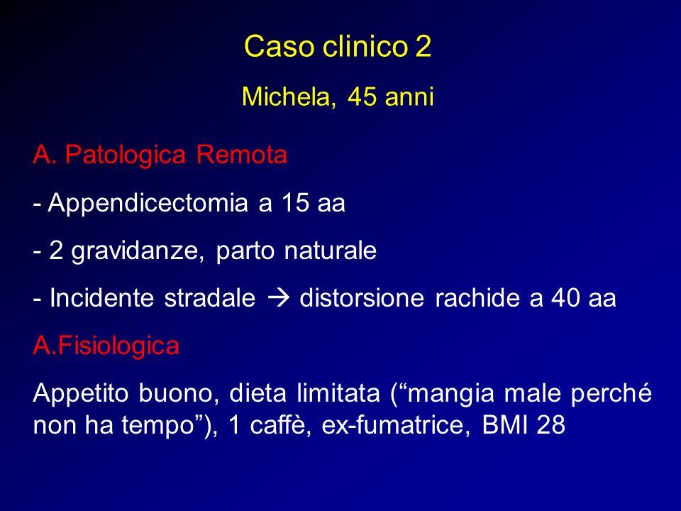 Caso clinico 2 Michela, 45 anni A. Patologica Remota - Appendicectomia a 15 aa - 2 gravidanze, parto naturale - Incidente stradale distorsione rachide