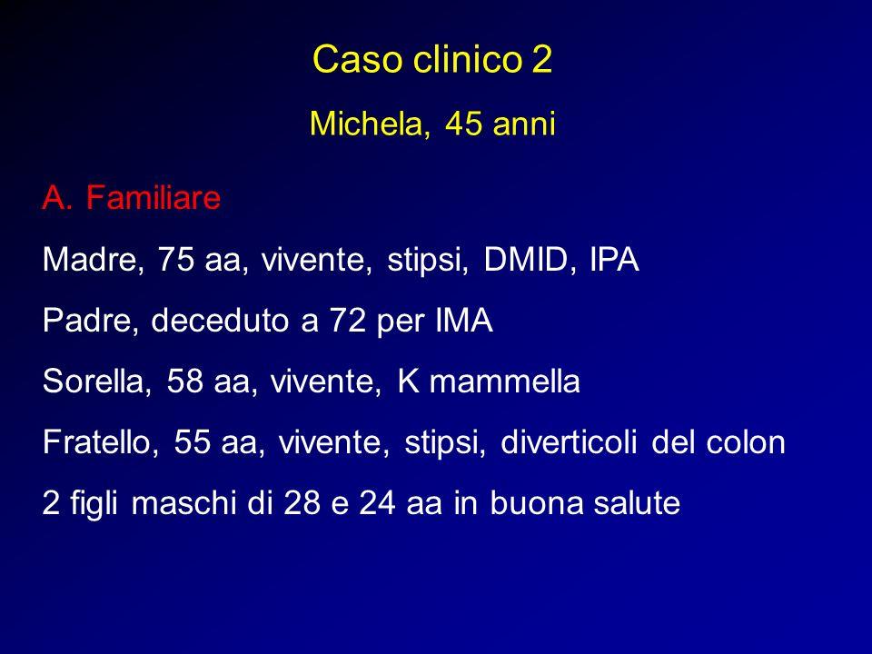 Caso clinico 2 Michela, 45 anni A.Familiare Madre, 75 aa, vivente, stipsi, DMID, IPA Padre, deceduto a 72 per IMA Sorella, 58 aa, vivente, K mammella