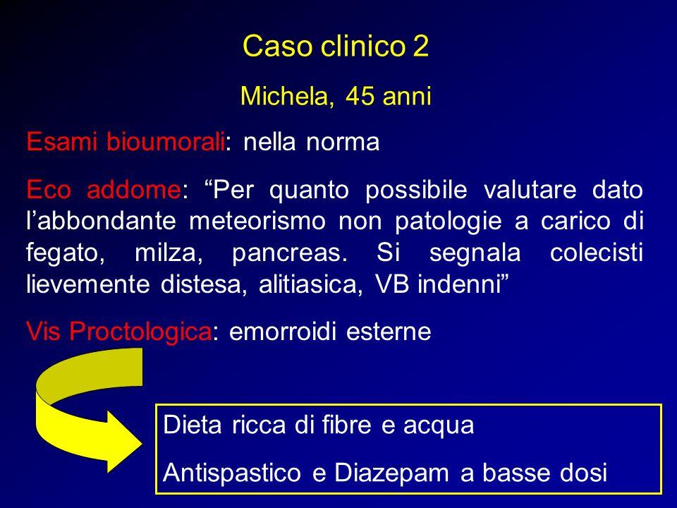 Esami bioumorali: nella norma Eco addome: Per quanto possibile valutare dato labbondante meteorismo non patologie a carico di fegato, milza, pancreas.
