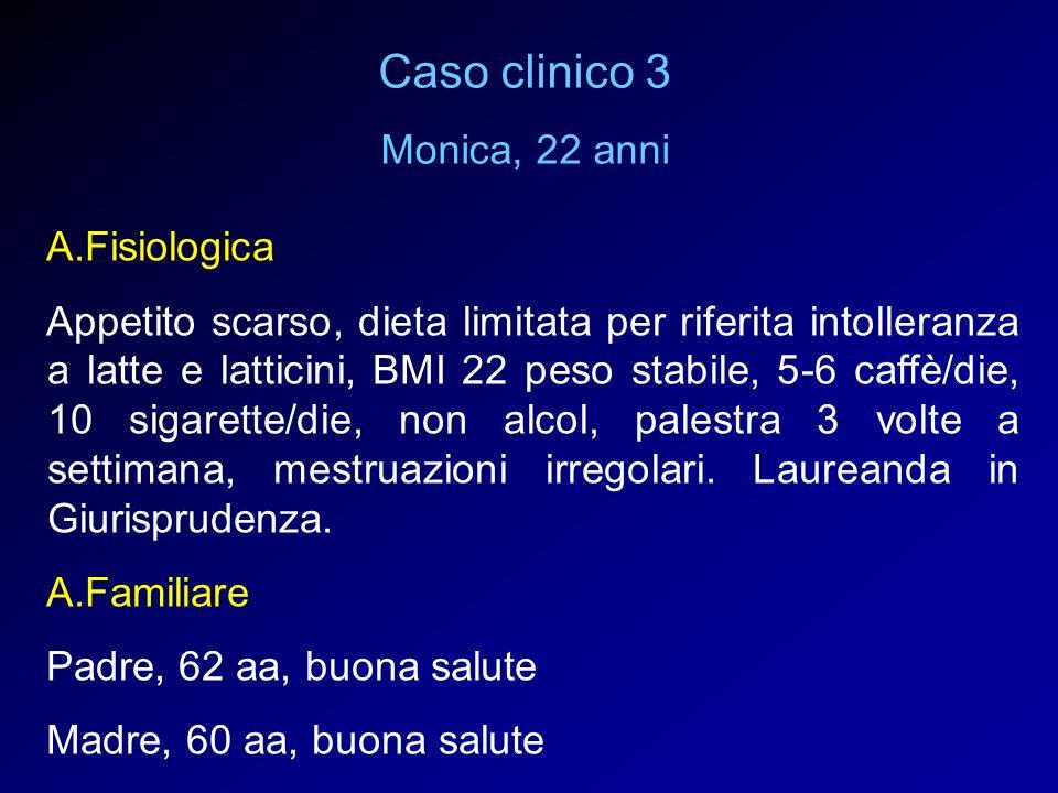 A.Fisiologica Appetito scarso, dieta limitata per riferita intolleranza a latte e latticini, BMI 22 peso stabile, 5-6 caffè/die, 10 sigarette/die, non