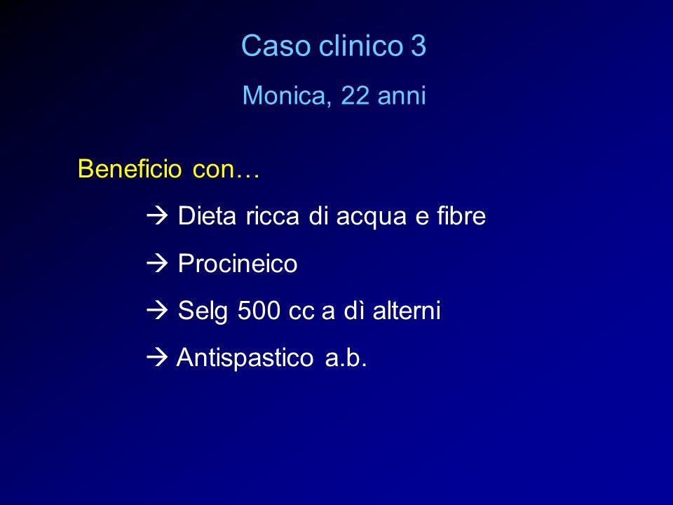 Beneficio con… Dieta ricca di acqua e fibre Procineico Selg 500 cc a dì alterni Antispastico a.b. Caso clinico 3 Monica, 22 anni