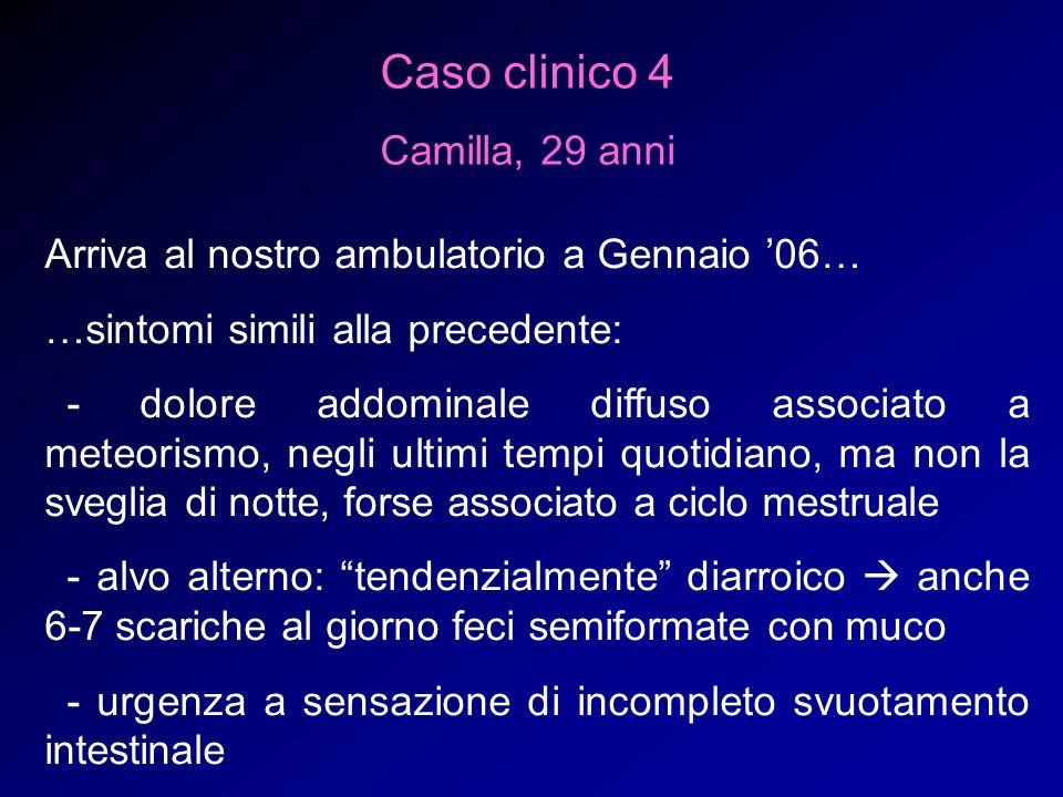 Caso clinico 4 Camilla, 29 anni Arriva al nostro ambulatorio a Gennaio 06… …sintomi simili alla precedente: - dolore addominale diffuso associato a me