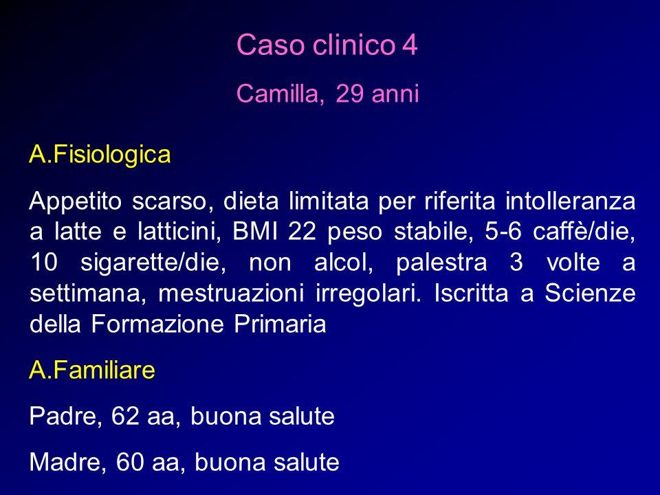 Caso clinico 4 Camilla, 29 anni A.Fisiologica Appetito scarso, dieta limitata per riferita intolleranza a latte e latticini, BMI 22 peso stabile, 5-6