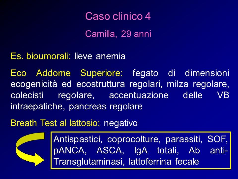 Caso clinico 4 Camilla, 29 anni Es. bioumorali: lieve anemia Eco Addome Superiore: fegato di dimensioni ecogenicità ed ecostruttura regolari, milza re