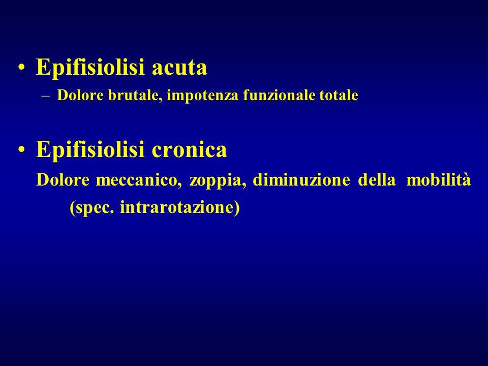 Epifisiolisi acuta –Dolore brutale, impotenza funzionale totale Epifisiolisi cronica Dolore meccanico, zoppia, diminuzione della mobilità (spec. intra