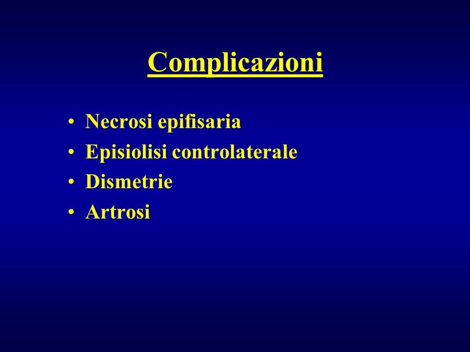 Complicazioni Necrosi epifisaria Episiolisi controlaterale Dismetrie Artrosi