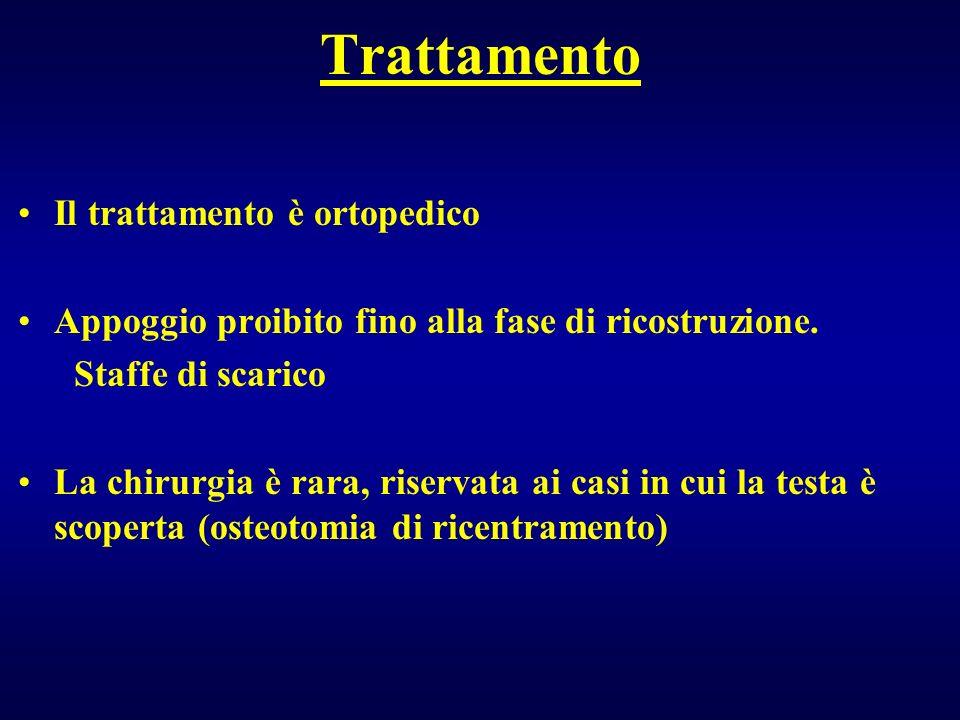 Trattamento Il trattamento è ortopedico Appoggio proibito fino alla fase di ricostruzione. Staffe di scarico La chirurgia è rara, riservata ai casi in